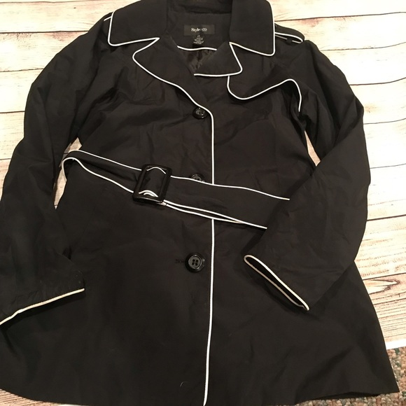 Style & Co Jackets & Blazers - Style & Co. Black and White Trench Coat